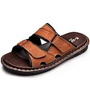 HombreConfort-Zapatillas y flip-flop-Exterior Vestido Informal-Cuero-Negro Marrón Claro