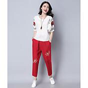Mujer Simple Casual/Diario Camiseta,Escote Redondo Un Color Floral Manga Corta Algodón