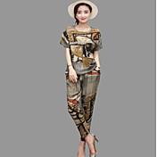 Mujer Primavera Camiseta Pantalón Trajes,Escote Redondo 3/4 Mangas Algodón / nylon con un toque de elasticidad Rígido