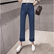 Mujer Tiro Alto Corte Recto Chinos Vaqueros Pantalones - Un Color