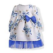 女の子の 誕生日 カジュアル/普段着 ホリデー ゼブラプリント フラワー コットン ドレス 秋 冬 長袖
