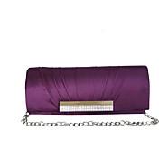 Mujer Bolsos Seda Bolso de Noche Pedrería Plisados para Boda Otoño Todas las Temporadas Rojo Violeta