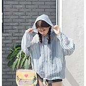 レディース カジュアル/普段着 シャツ,シンプル フード付き ストライプ ポリエステル 長袖