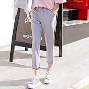 Mujer Sencillo Tiro Medio Microelástico Chinos Empresa Pantalones,Pantalones Harén Un Color