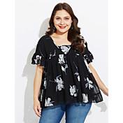 Mujer Casual Diario Camiseta,Escote en Pico Un Color Estampado Manga Corta Algodón
