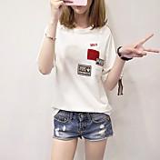Mujer Simple Noche Camiseta,Escote Redondo Un Color Letra Media Manga Algodón