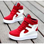 Mujer Zapatillas de deporte Confort Cuero real Cuero de Cerdo Otoño Invierno Casual Negro/blanco Rojo/Blanco Negro/Rojo Blanco/Plata7'5 -