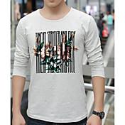 メンズ カジュアル/普段着 Tシャツ,シンプル ラウンドネック プリント その他 長袖