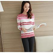 Mujer Regular Pullover Simple,A Rayas Escote Redondo Manga Larga Primavera Otoño Fino Microelástico