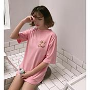 レディース お出かけ Tシャツ,シンプル ラウンドネック ソリッド プリント レタード コットン ハーフスリーブ