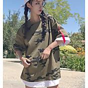 レディース お出かけ カジュアル/普段着 Tシャツ,シンプル ラウンドネック カモフラージュ コットン 七分袖 薄手