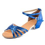 Zapatos de danza (niños) Cuero Nobuck / Cuero Patentado Hebilla Tacón Bajo Personalizables Zapatos de baile Azul