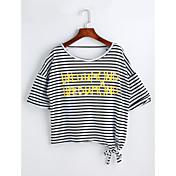 レディース カジュアル/普段着 Tシャツ,シンプル ラウンドネック ソリッド ストライプ レタード コットン 半袖