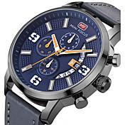 Hombre Reloj Deportivo / Reloj de Pulsera Calendario / Creativo / Cool Cuero Auténtico Banda Encanto / Lujo / Casual Negro / Azul / Gris / SSUO LR626