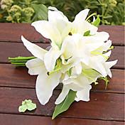 1 ブランチ プラスチック ユリ テーブルトップフラワー 人工花