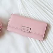 女性 バッグ オールシーズン PU 長財布 ボタン のために イベント/パーティー ショッピング 日常 カジュアル グレー クリムゾン スカイブルー グリーン ピンク