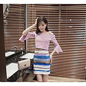 レディース カジュアル/普段着 夏 Tシャツ(21) スカート スーツ,シンプル ボートネック ソリッド 七分袖