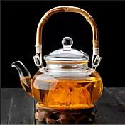 Drinkware de bambú de la tetera del vidrio de borosilicate de la manija de 500ml