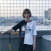 Mujer Camiseta Bloques Algodón