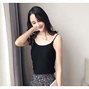 Mujer Simple Noche Tank Tops,Con Tirantes Un Color Sin Mangas Algodón