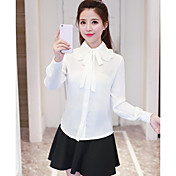 Mujer Simple Casual/Diario Camisa,Escote Chino Un Color Manga Larga Poliéster