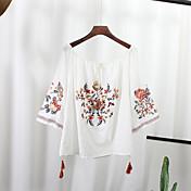 レディース カジュアル/普段着 シャツ,アジアン・エスニック ボートネック 刺繍 コットン 七分袖