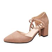 Mujer Zapatos PU Primavera Verano Gladiador Sandalias Dedo redondo Con Cordón para Casual Negro Amarillo Verde Ejército Rosa