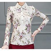 Mujer Estampado - Blusa, Escote Chino Floral