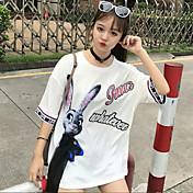 レディース カジュアル/普段着 Tシャツ,シンプル ラウンドネック プリント レタード コットン 半袖