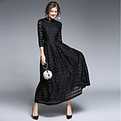 Mujer Encaje Corte Swing Vestido - Encaje Cruzado, Un Color Tiro Alto Maxi Cuello Barco
