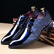 メンズ 靴 エナメル 秋 冬 コンフォートシューズ オックスフォードシューズ 編み上げ 用途 カジュアル パーティー ブラック ネービーブルー バーガンディー