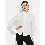 Dámské Jednobarevné Velké velikosti Sexy Roztomilé Košile-Všechna období Polyester Košilový límec Dlouhý rukáv Střední
