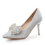 Mujer Zapatos Lentejuelas Purpurina Primavera Otoño Confort Tacones Tacón Stiletto Dedo Puntiagudo Pedrería Para Boda Fiesta y Noche Plata