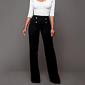 Mujer Tiro Alto Corte Ancho Ajustado a la Bota Chinos Pantalones - Un Color