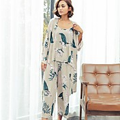 Mujer Pijamas Medio 100% Algodón Rosa Gris Claro
