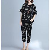 レディース カジュアル/普段着 夏 シャツ パンツ スーツ,シンプル ラウンドネック プリント 半袖