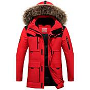 コート レギュラー ダウン メンズ,プラスサイズ ソリッド ポリエステル ホワイトダックダウン-活発的 長袖