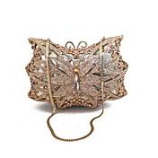 女性 バッグ 金属 イブニングバッグ クリスタル装飾 のために 結婚式 イベント/パーティー フォーマル 春 夏 シャンパン ゴールド