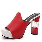 Mujer Sandalias Confort Verano PU Paseo Tacón Robusto Blanco Negro Rojo 2'5 - 4'5 cms