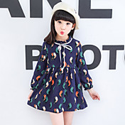 女の子の お出かけ カジュアル/普段着 プリント コットン ドレス 春 夏 長袖