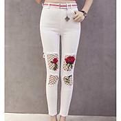 Mujer Sensual Tiro Alto Microelástico Ajustado Pantalones, Floral Verano