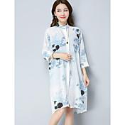 Mujer Tejido Oriental Casual/Diario Verano Camisa,Escote Chino Floral Estampado Manga Larga Lino Medio
