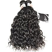 バージンヘア ブラジリアンヘア 人間の髪編む ウォーターウェーブ ヘアエクステンション 3個 ブラック