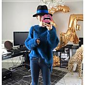 レディース カジュアル/普段着 レギュラー プルオーバー,ソリッド ラウンドネック 長袖 ウール 秋 冬 厚手 伸縮性なし