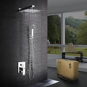 Moderno / Contemporáneo Sistema ducha Ducha lluvia Alcachofa incluida Válvula Cerámica 1 Orificio Cromo , Grifo de ducha