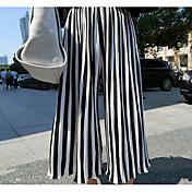 レディース ストリートファッション ハイライズ ワイドレッグ マイクロエラスティック ワイドレッグ パンツ ストライプ