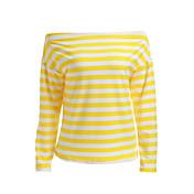 Mujer Bonito Diario Deportes Otoño Camiseta,Escote Barco A Rayas Manga Larga Algodón Medio