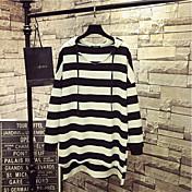 レディース カジュアル/普段着 Tシャツ,シンプル フード付き ストライプ コットン 長袖