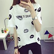 Mujer Bonito Noche Casual/Diario Camiseta,Escote Redondo Estampado Manga Corta Algodón