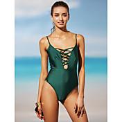 Mujer Sólido Con Cordones Una Pieza Bañadores Verde Trébol